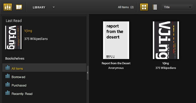 Screenshot of two Greyscale Press books in Adobe Ebook Reader