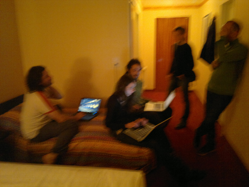 Installation party in the hotel room